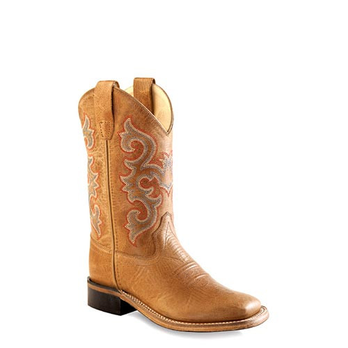 Old West Brown Childrens Boys Leather Round Toe Cowboy Boots