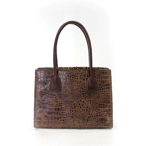 a082b22f3464 ... Juan Antonio Women s Custom Handbags - 2003H - Antelope   Croco Brown -  Traveler Bag