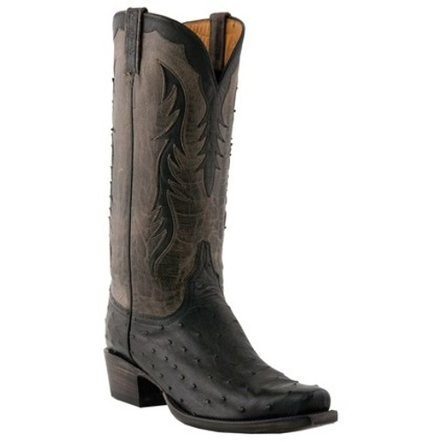 8e5665b3f0a Lucchese Men's Boots - Classic Hand Made - Black / Grey Burnished - FQ  Ostrich / Mad Dog Goat