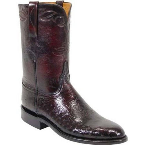 445a605d9e0 Lucchese Men's Boots - Classics Hand Made - Black Cherry Brush Off - Smooth  Ostrich / Goat