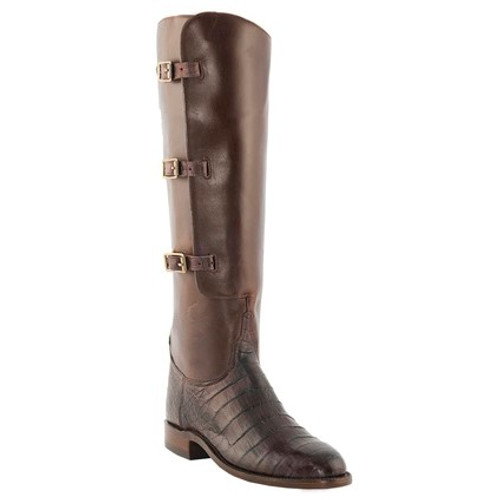 faf562bc3a0 Lucchese Women's Boots - Classic Hand Made - Barrel Brown / Chocolate -  Ultra Belly Caiman / Oil Calf