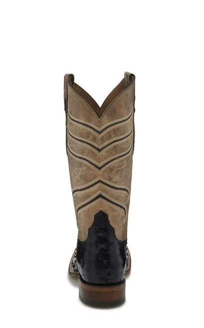 bc17c225520 Tony Lama Mens Boots - Amell - Black Hermoso Full Quill Ostrich / Reverse  Mercedes Beige Cowhide