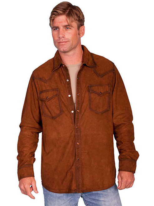Scully Men S Suede Leather Shirt Jacket Brown Billy S Western Wear