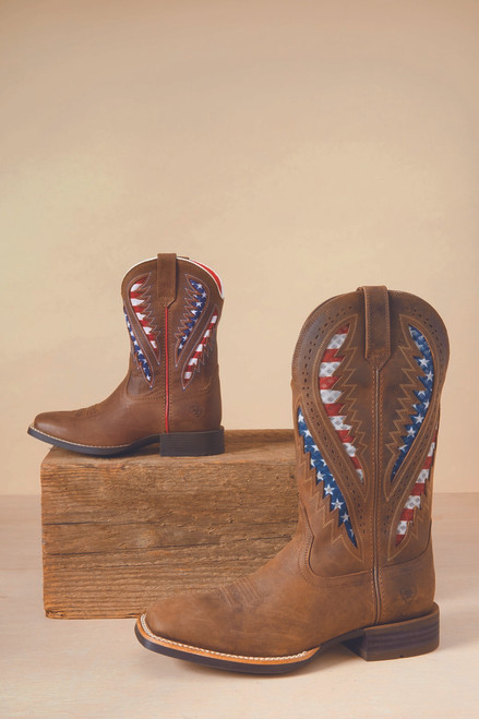 Ariat Kid/'s Brown American Flag Quickdraw Ventek Square Toe Boots 10027304