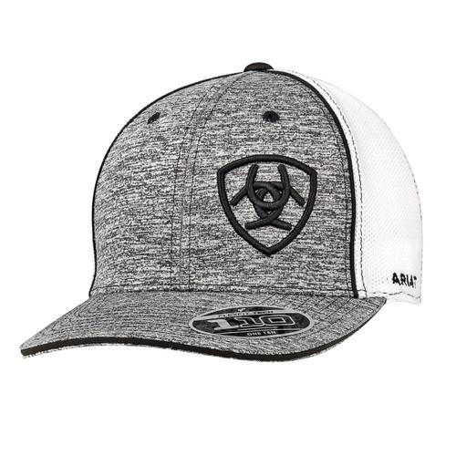 7006ff0156663f Ariat Caps - White Mesh Snapback - Heather Gray w/ Black Embroidered Logo