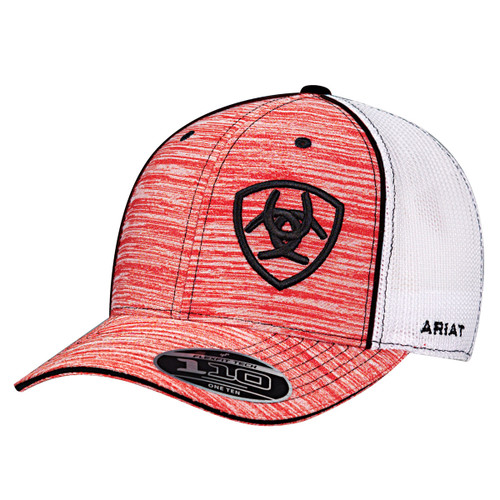 21407134c66ecc Ariat Caps - White Mesh Snapback - Heather Red w/ Black Embroidered Logo