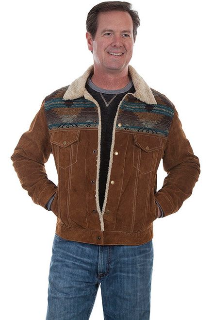 Scully Western Mens Boar Suede Sherpa Fleece Jean Jacket Cafe Brown 113-125
