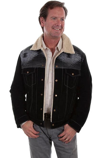 Scully Western Jacket Mens Boar Suede Sherpa Snap Black 113-19