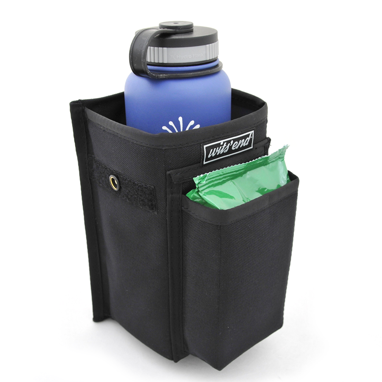 Refuse Containment System- Main Unit (RCS-1) Front pocket designed to hold a small pack of wet wipes. Main bin large enough for a large Hydroflask