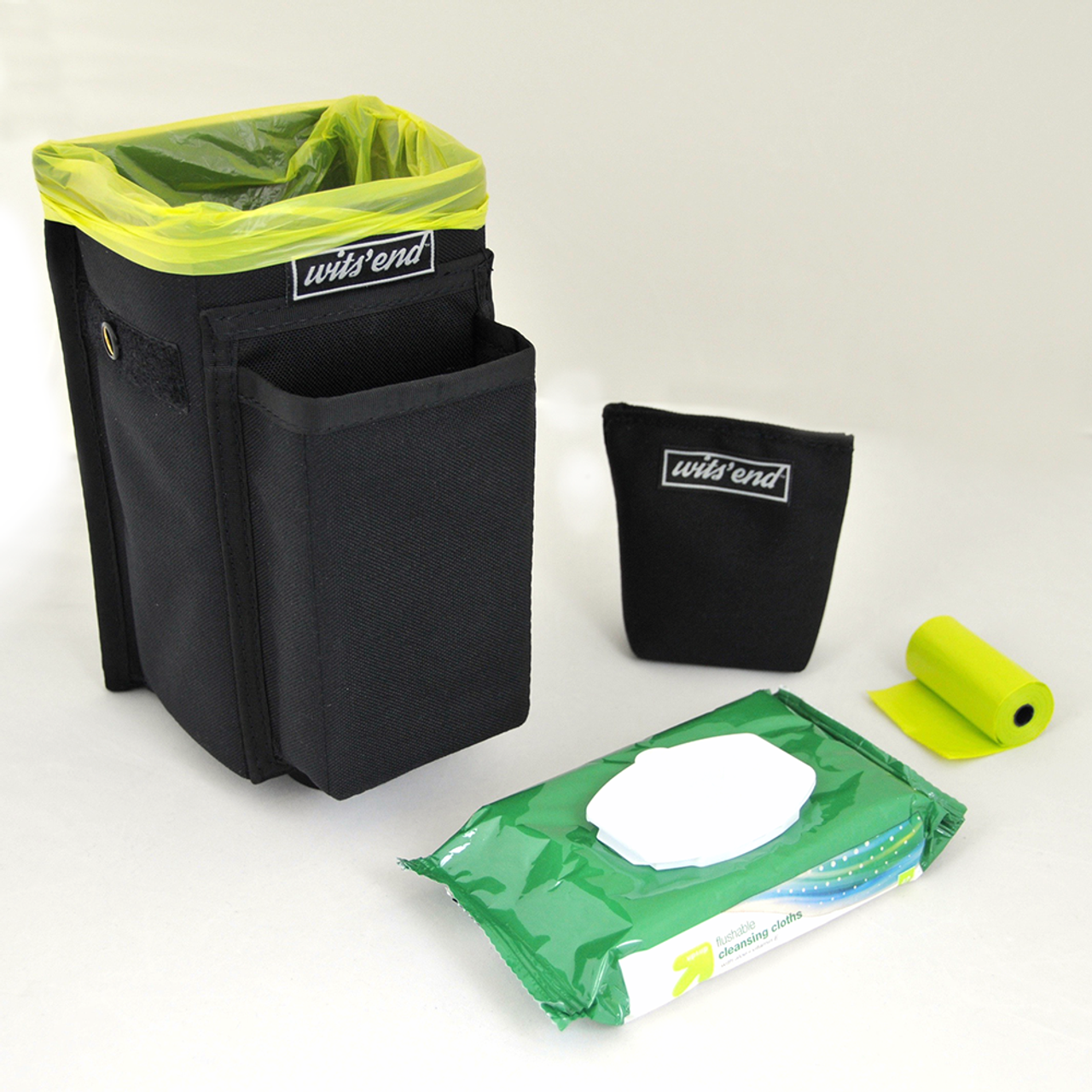 Refuse Containment System- Main Unit (RCS-1) Main bin comes with weighted sand bag, pack of wet wipes and roll of doggie poo bags.