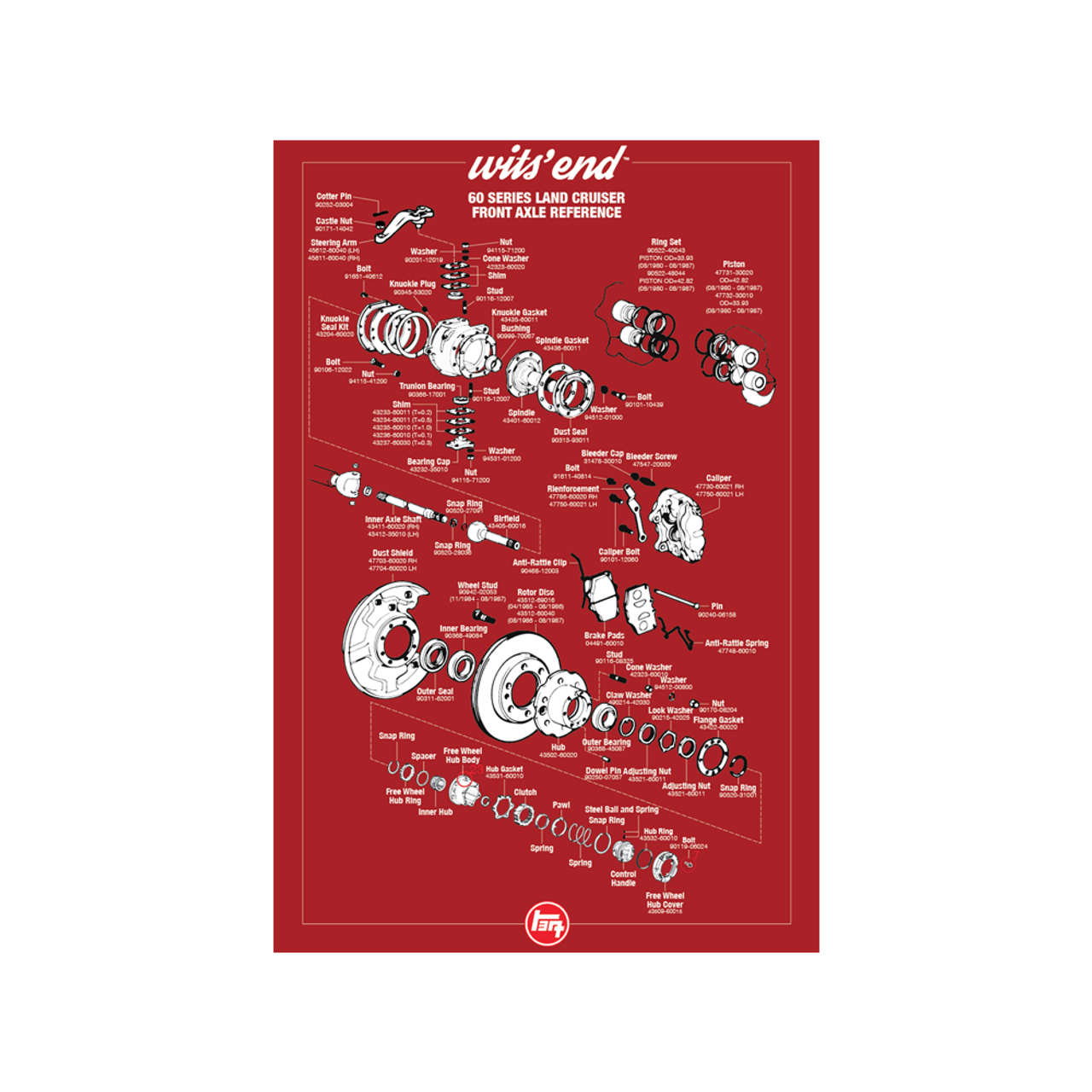 """60/62 Series Front Axle Reference Poster- 18""""x27"""" (REF-2)"""