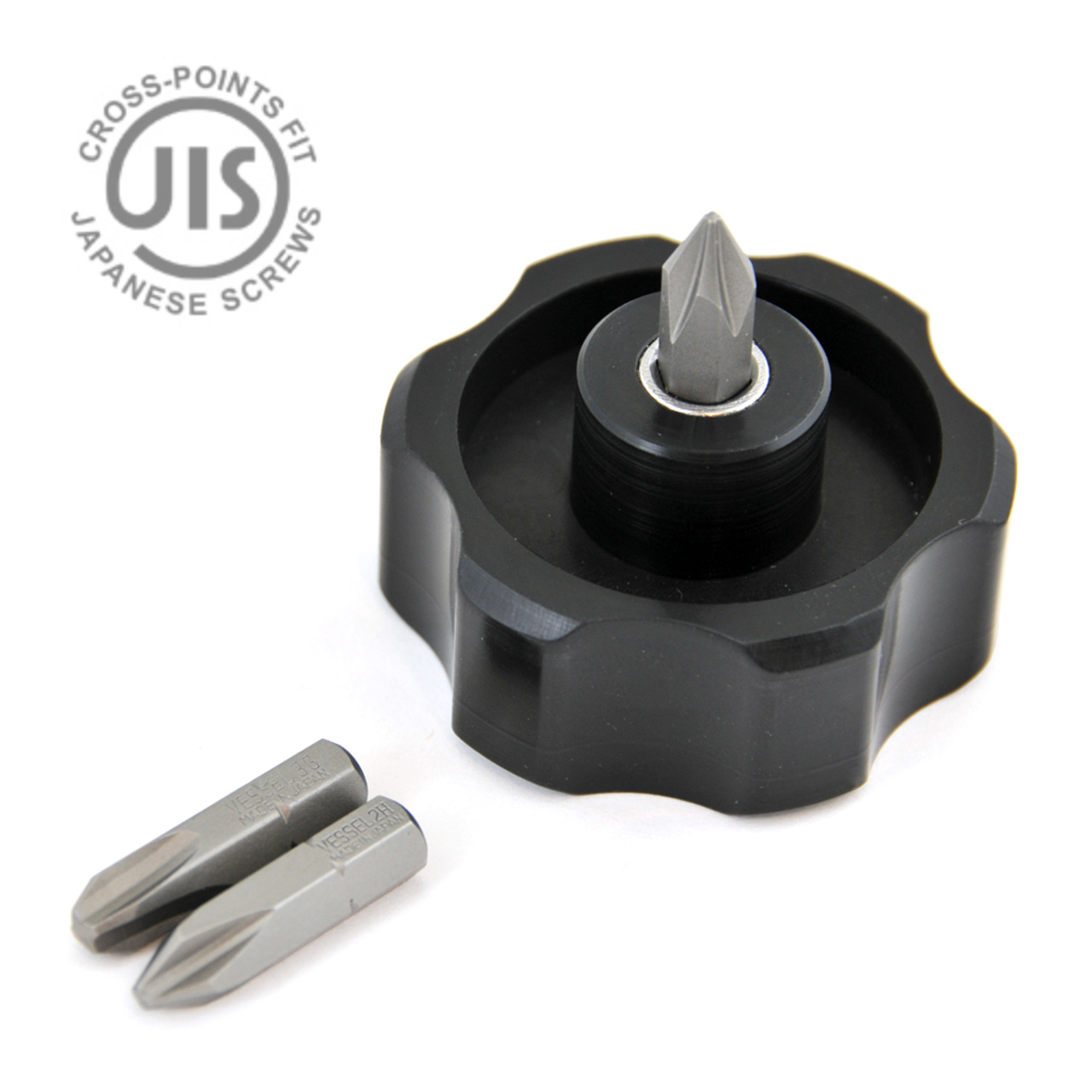 3-piece JIS Insert Bits (VES-A16621) fit perfect in the Wits' End Handwheel