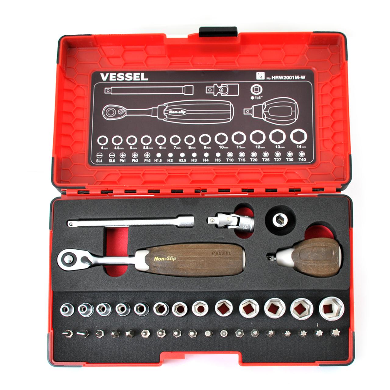 """VESSEL 36-PC 1/4"""" Non-Slip Ratchet Driver Set (HRW2001M-W)"""