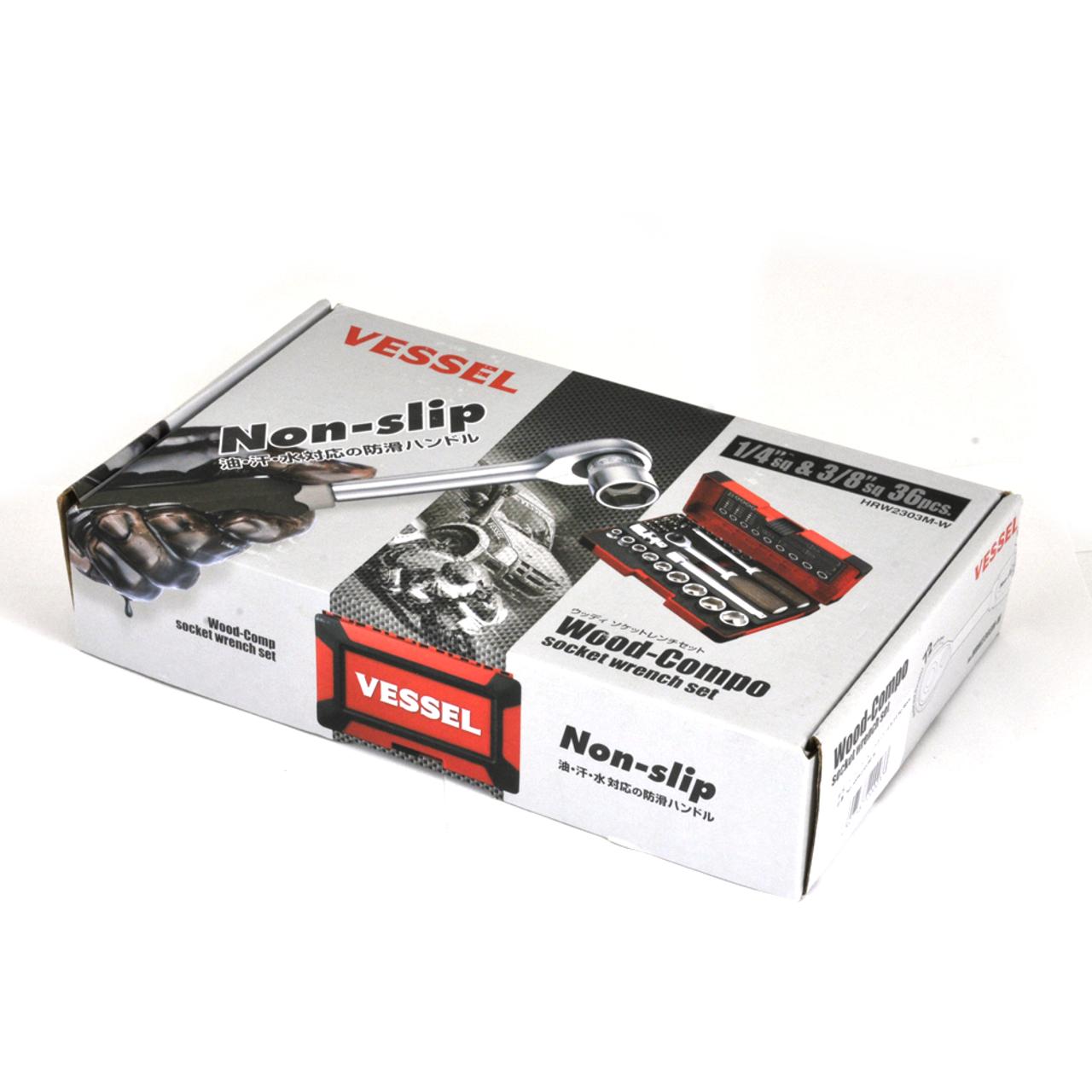 """VESSEL 36-PC 3/8"""" Non-Slip Ratchet Driver Set (HRW2303M-W)"""