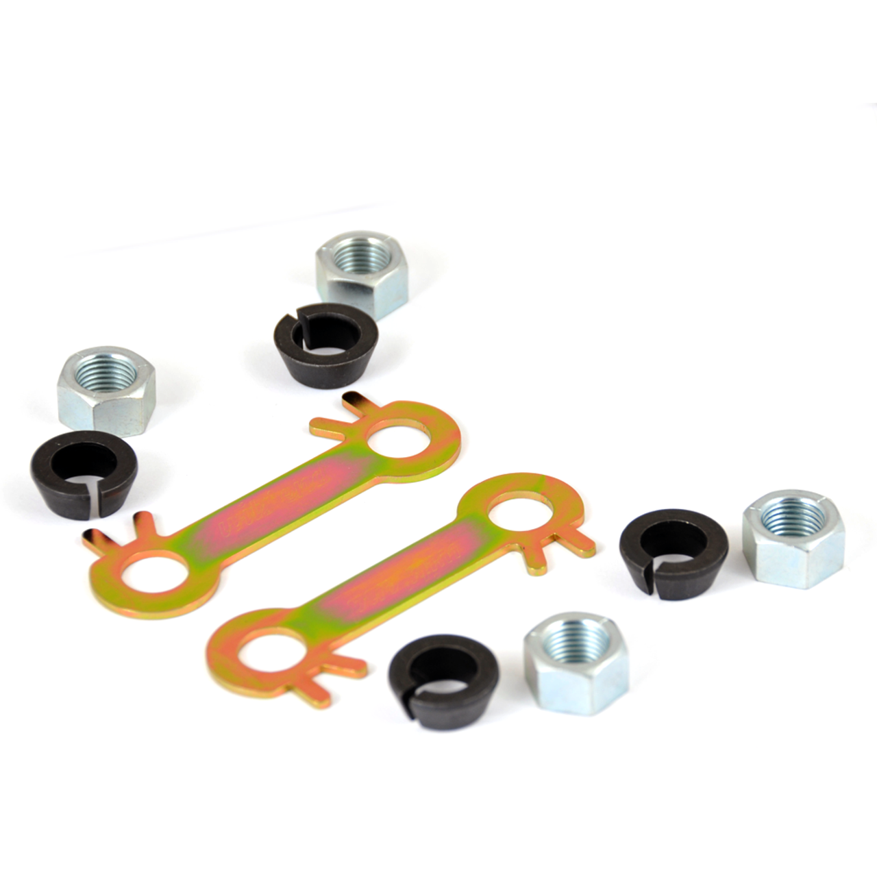 80 Series Nut Hugger- Toyota Solid Axle Knuckle (SAK-1)- what the new knuckle set would look like once the washers are removed. New OEM hardware NOT included