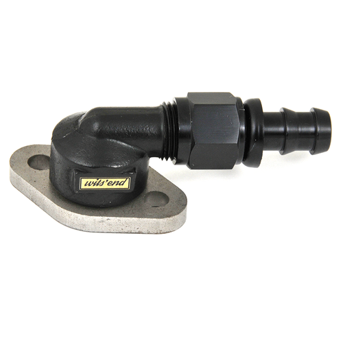 York 90deg to 1/2in. AN fitting adaptor (YRK-8) mounted on the York 210 flange fitting