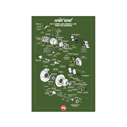 "HD 70 Series Front Axle Reference Poster- 18""x27"" (REF-3)"