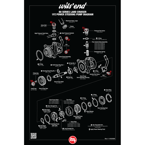 """80 Series 1FZ Power Steering Pump Reference Poster- 18""""x27"""" (REF-20)"""
