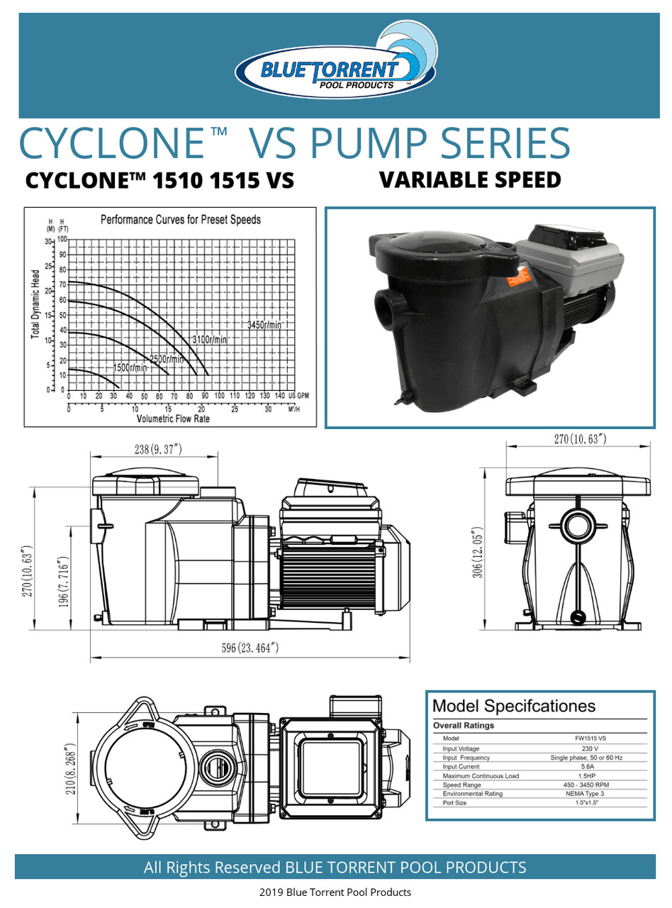 1 HP Energy Star Certified Variable Speed In Ground Blue Torrent Cyclone  Swimming Pool Pump Qualifies for Utility Rebates Includes 100% Lifetime