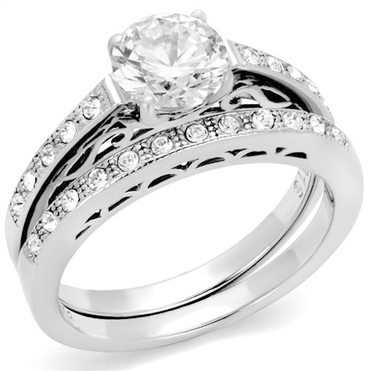 2 ct Round Cubic Zirconia Solitaire 316L Stainless Steel Engagement Ring 5-10