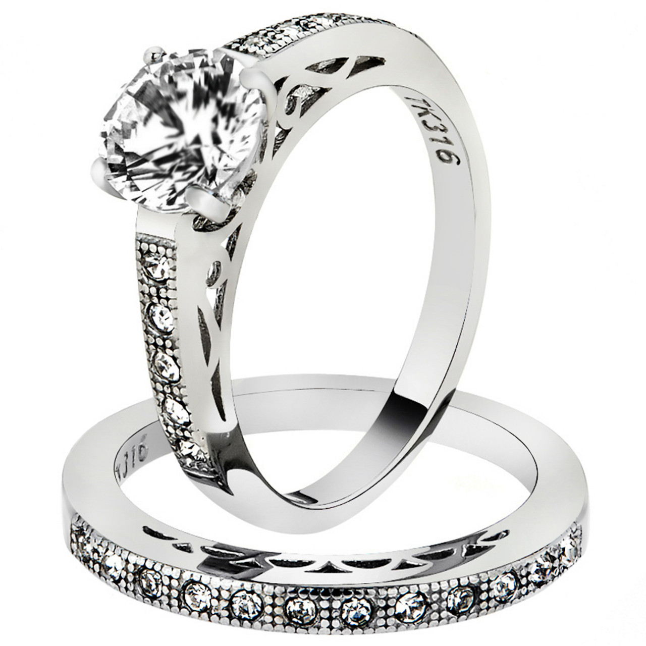 2.25 CT HALO ROUND CUT CZ BLACK STAINLESS STEEL WEDDING RING SET WOMEN/'S SZ 5-10