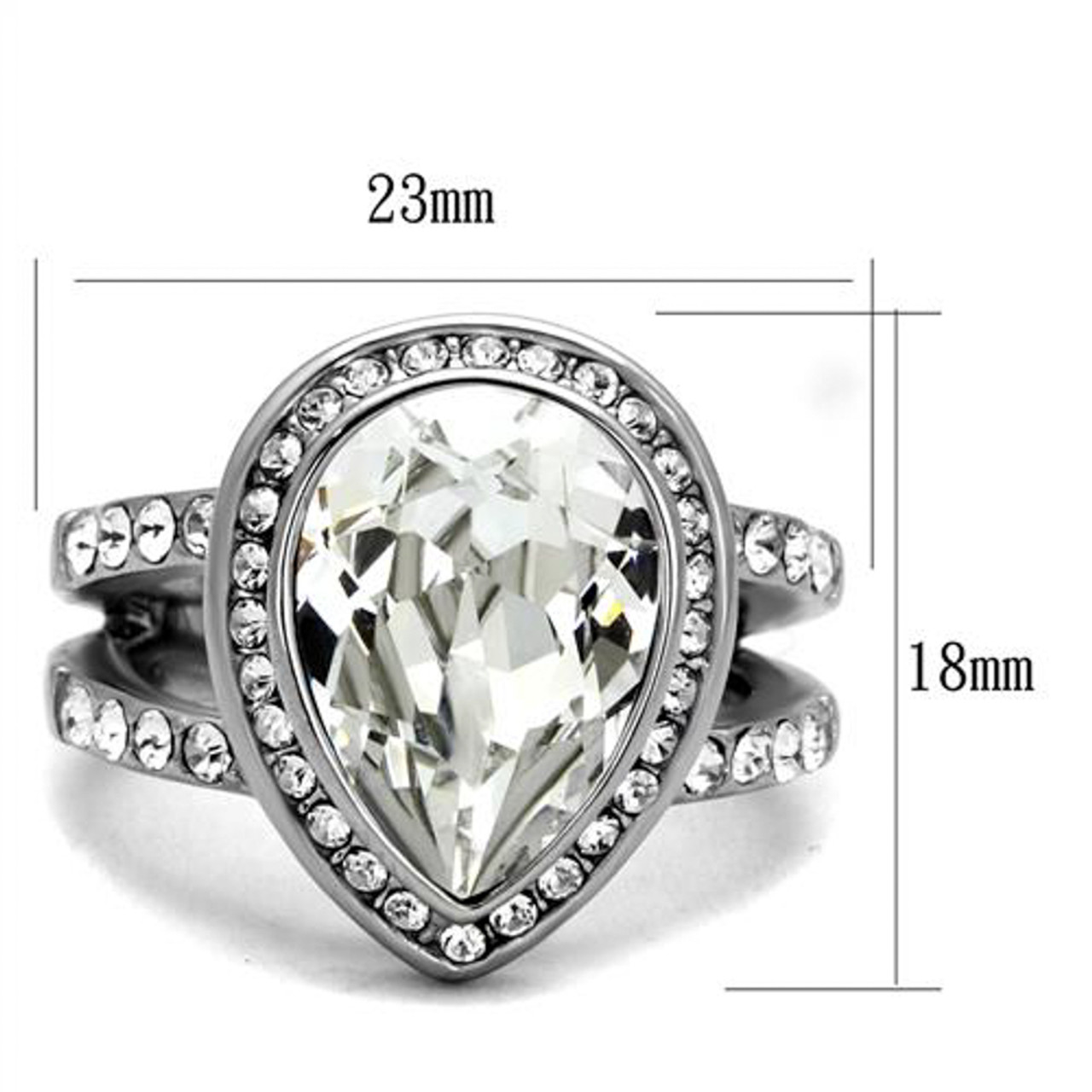 STAINLESS STEEL 1.08CT PEAR CUT ZIRCONIA HALO ENGAGEMENT//COCKTAIL RING SIZE 5-10