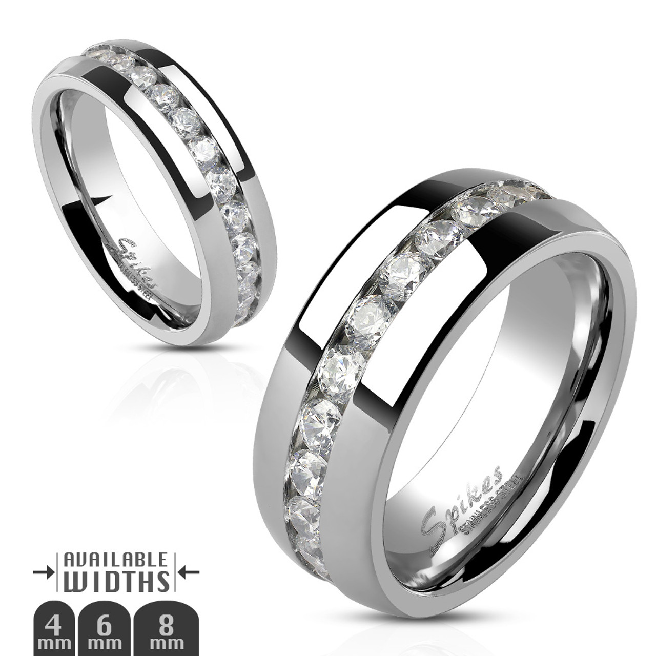 8532874173 ARH1570 Stainless Steel Round Cut CZ Eternity Wedding Ring Band (4 ...
