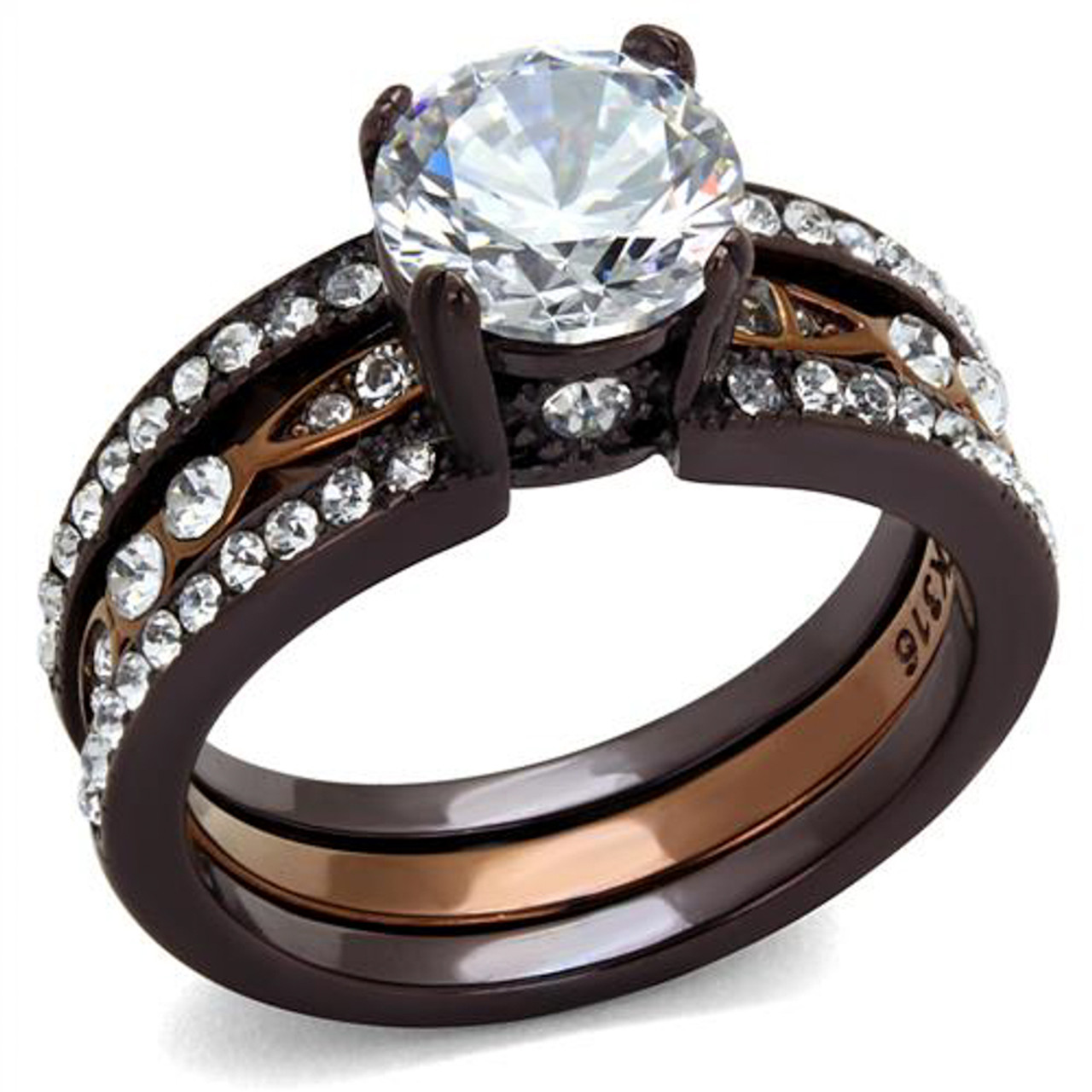 Champagne Cubic Zirconia   Grade AAA  Stainless Steel Women/'s  Set Ring