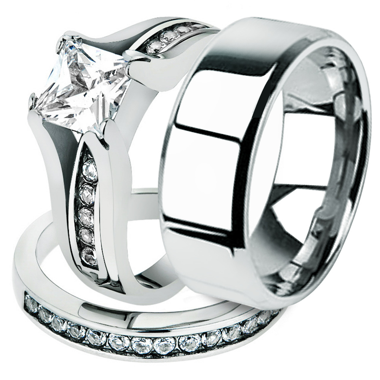 St0w383 Arm0006 His And Hers Stainless Steel Princess Wedding Ring