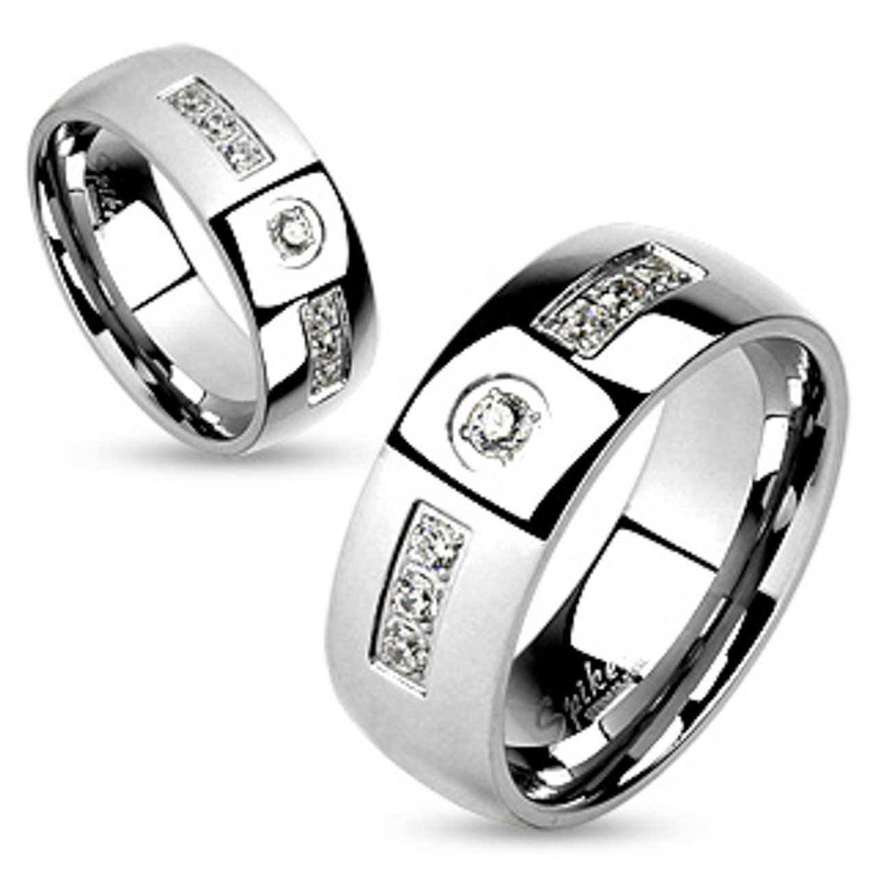 8mm Stainless Steel Cubic Zirconia 3-stone Domed Wedding Band Ring
