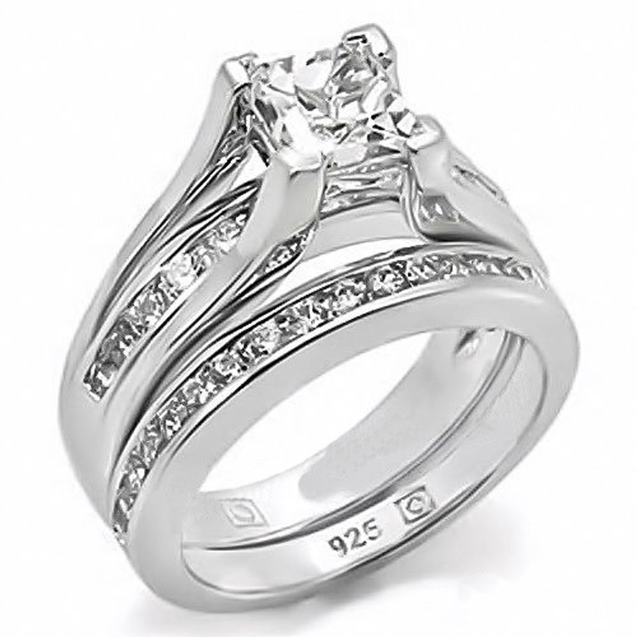 Arlos256 Women S 925 Sterling Silver 2 10 Ct Princess Cubic Zirconia Wedding Ring Set Marimorjewelry Com