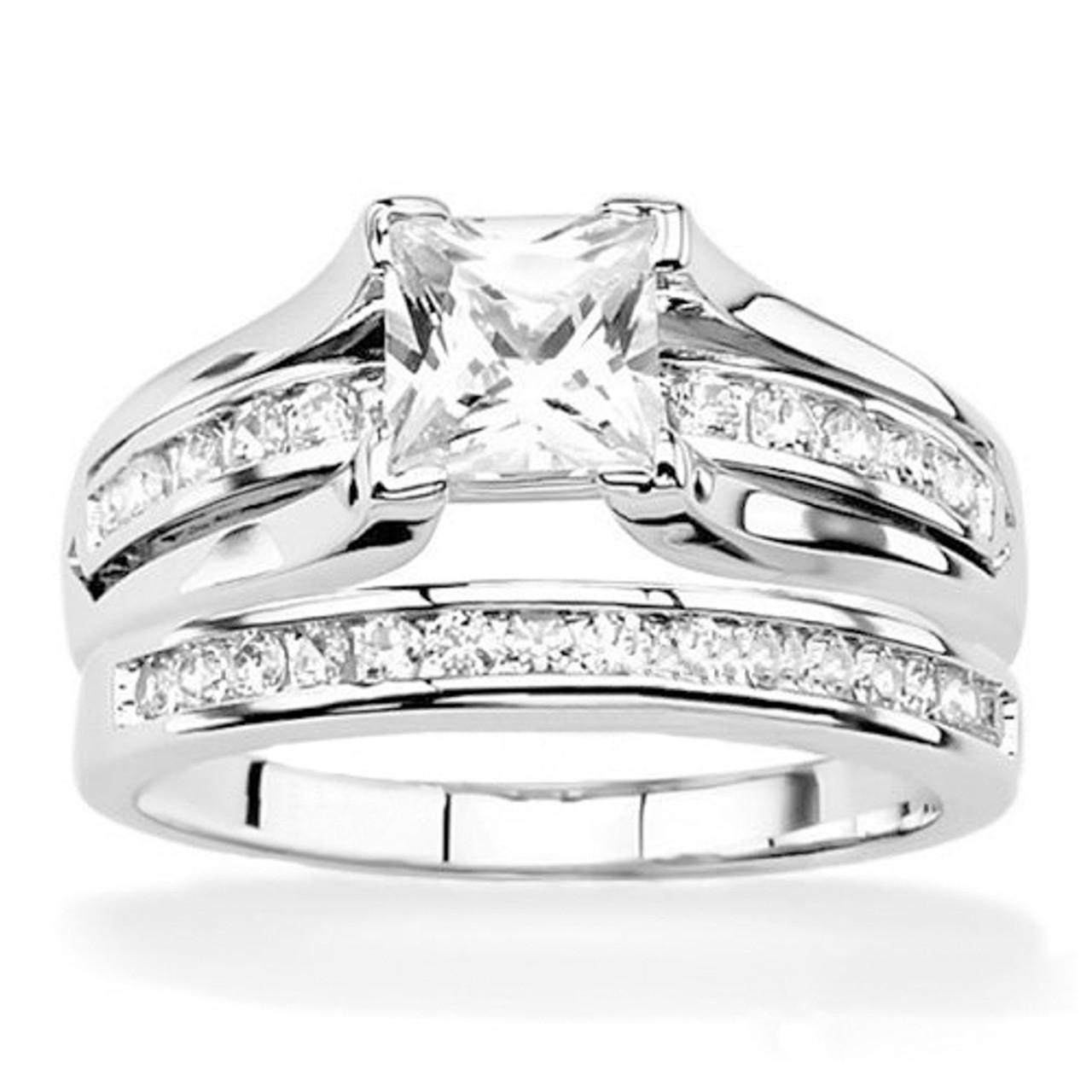 2.10 Ct Princess Cut AAA CZ 925 Sterling Silver Wedding Ring Set Women/'s Sz 5-11