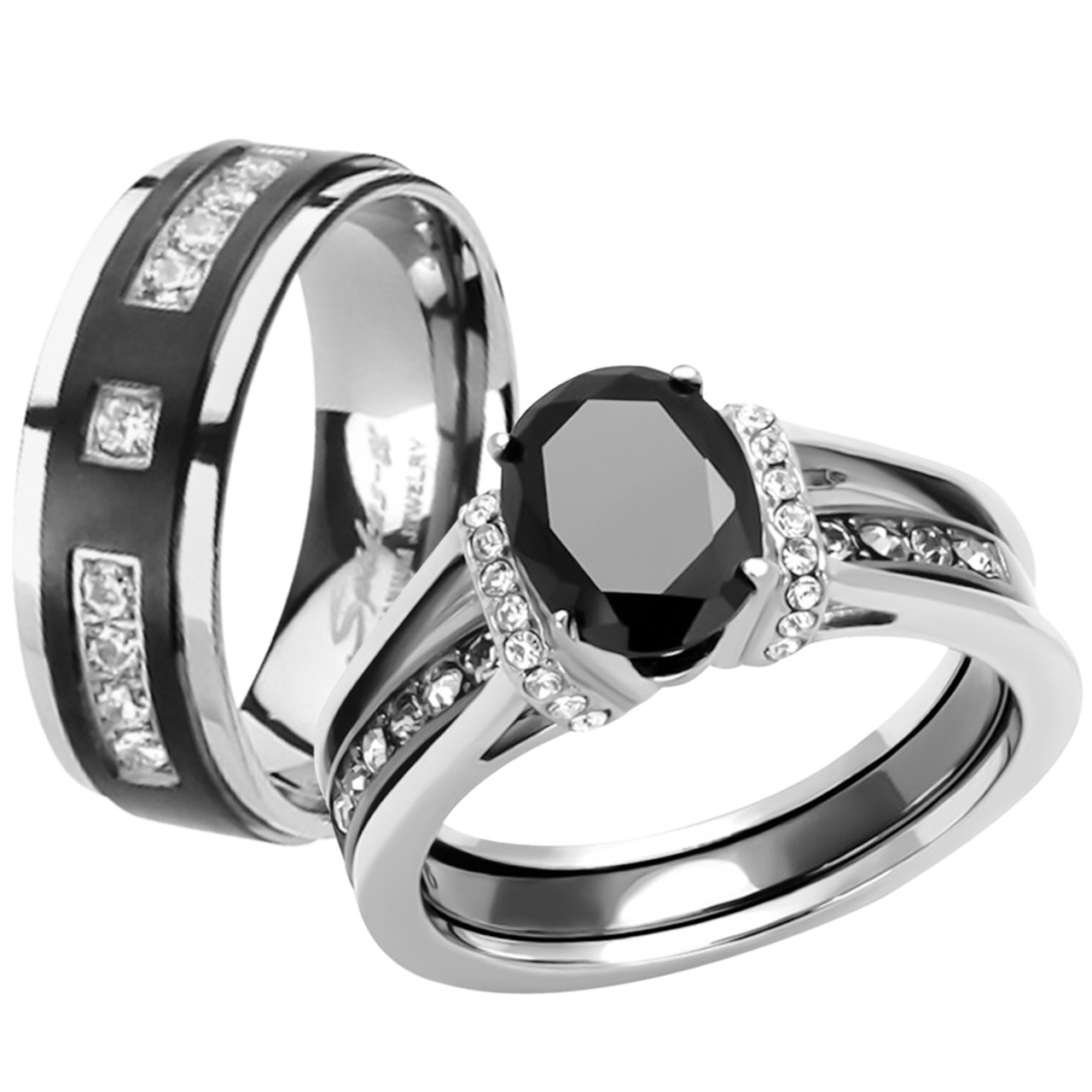 Black Stainless Steel /& Titanium His Hers Wedding Band Engagement Ring Set CZ cu
