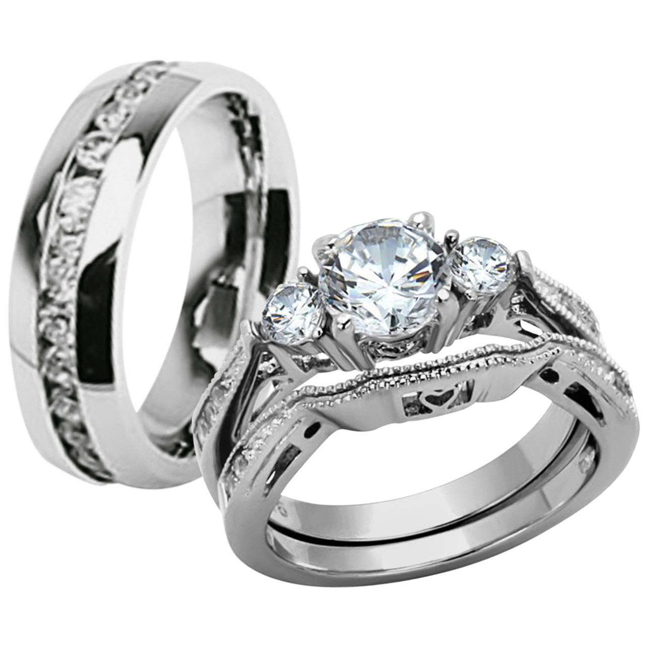 His /& Hers 3 Pc Stainless Steel Vintage Bridal Ring Set /& Eternity Wedding Band