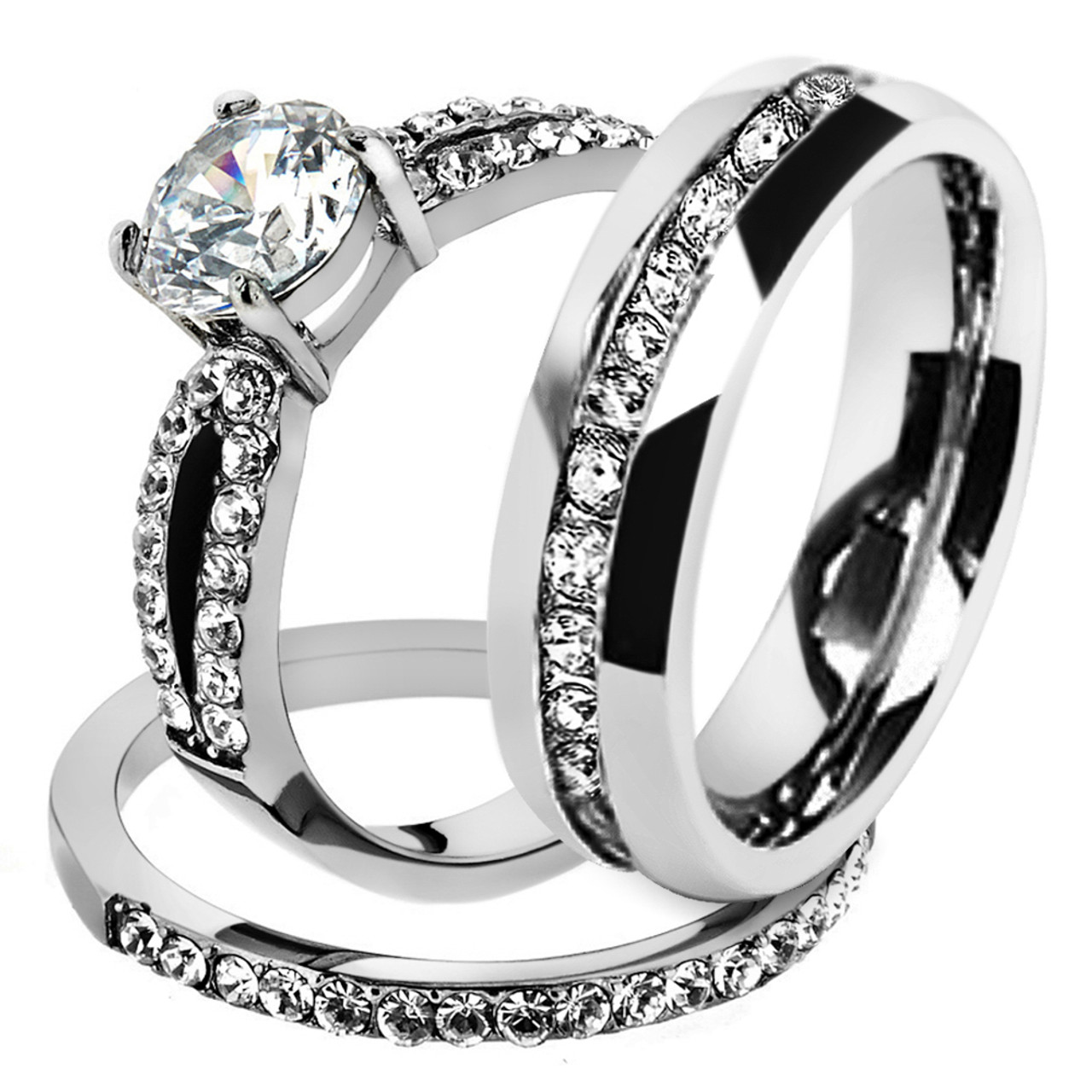 ST2292-ARH1570 His & Hers Stainless Steel 1 25 Ct Cz Bridal