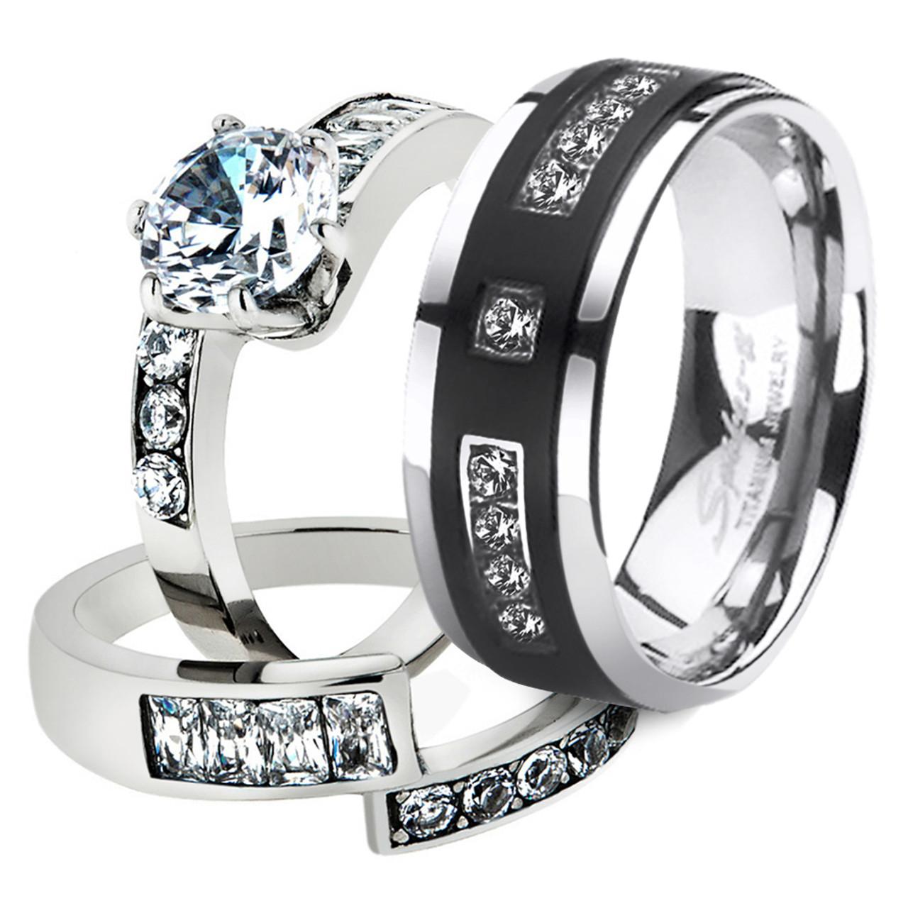 Marimor Jewelry His /& Her 3 Pc Stainless Steel 4.17 Ct Cz Bridal Set /& Men Zirconia Wedding Band