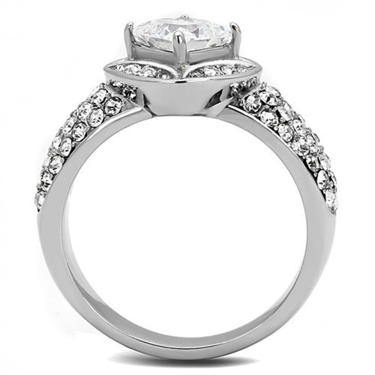 3.50 CT RADIANT CUT CZ SILVER STAINLESS STEEL ENGAGEMENT RING WOMEN/'S SIZE 5-10