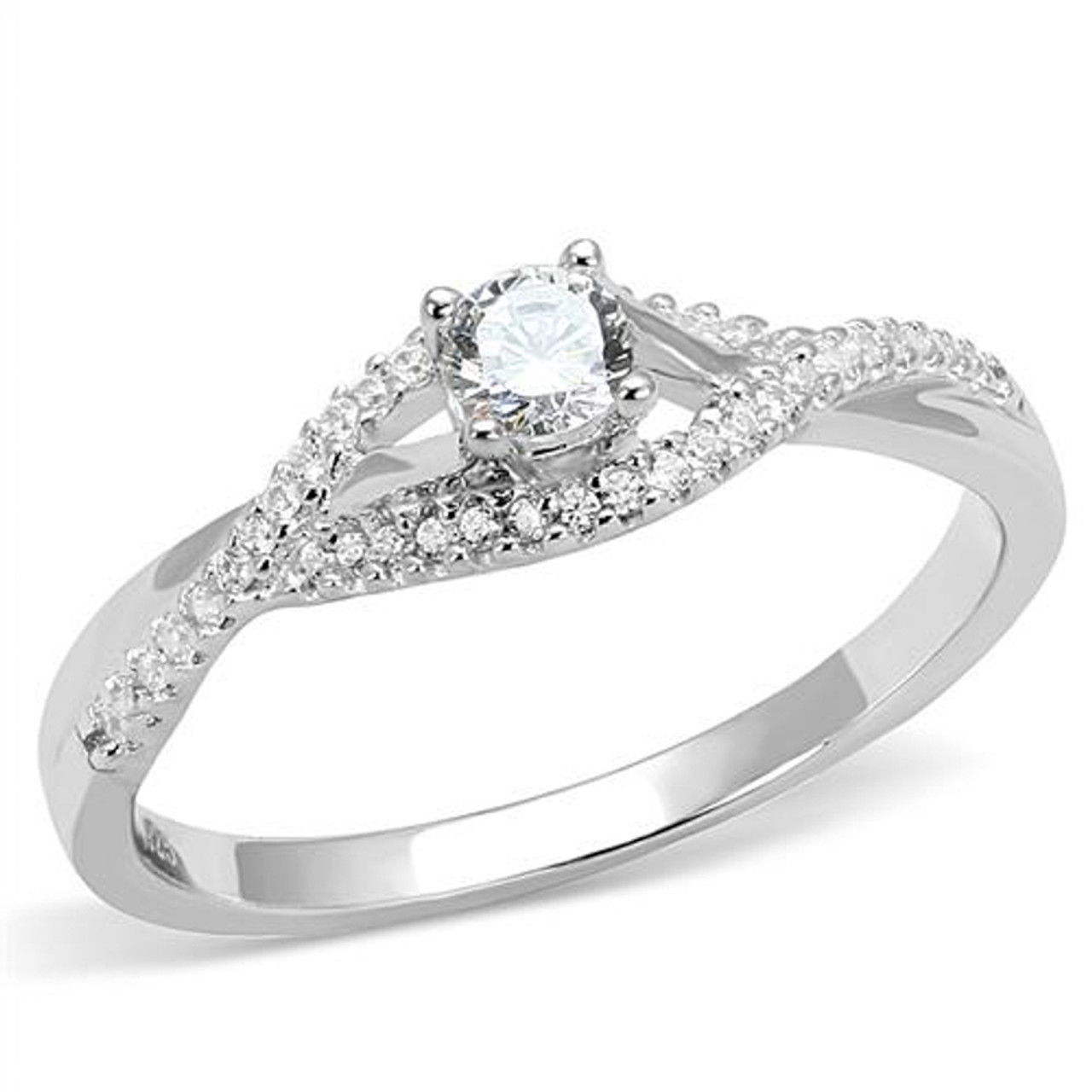 fb6c9112f814 Women s .25 Ct Round Cut Cz .925 Sterling Silver Rhodium Plated Engagement  Ring ...