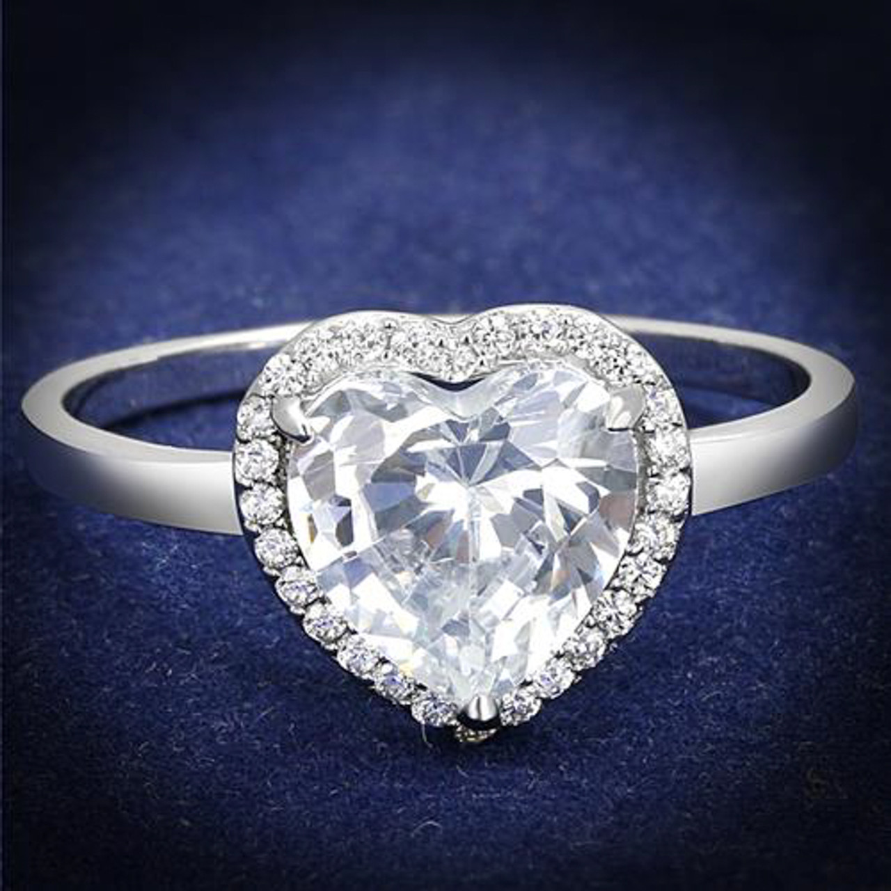 f64e7f326 Women's 1.79 Ct Heart Cut Cz .925 Sterling Silver Rhodium Plated Engagement  ...