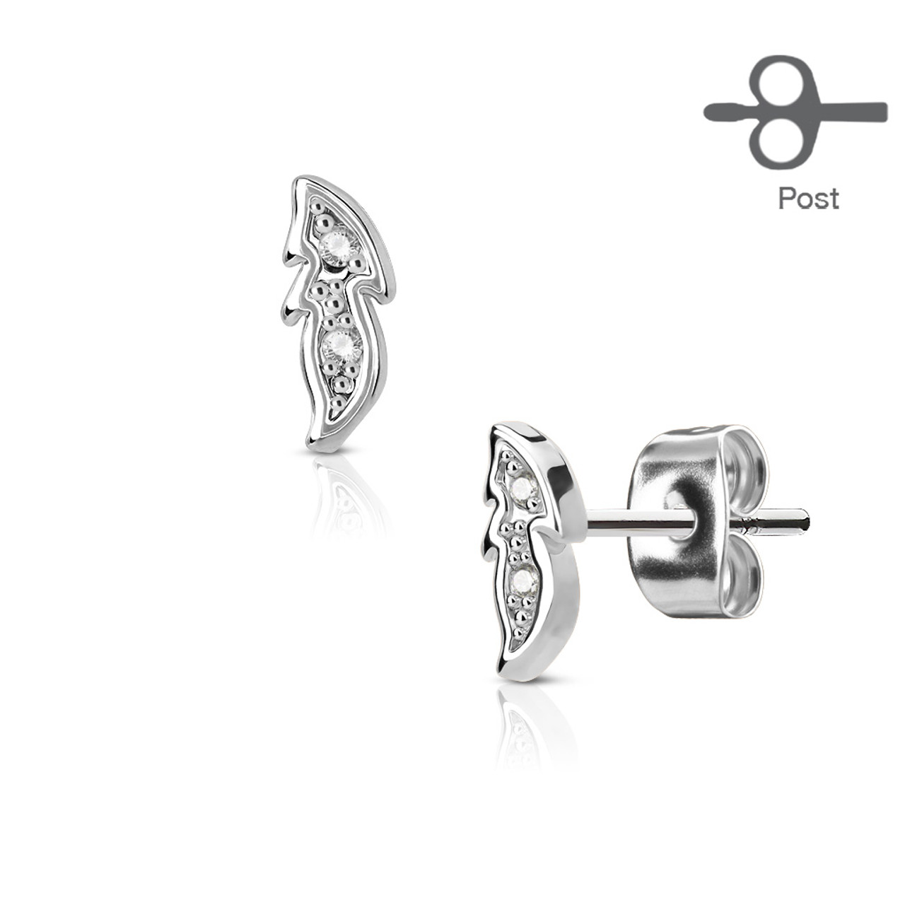 Pair of Hand Polished Music Clef surgical Stainless Steel Earring Studs