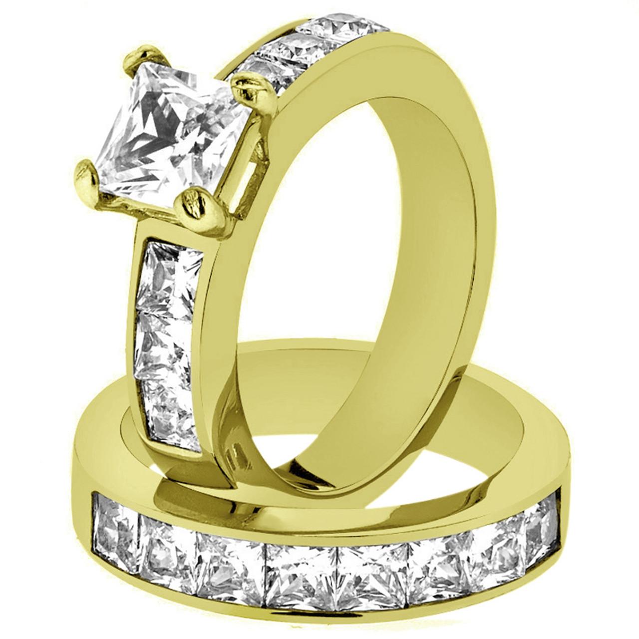 STUNNING PRINCESS CUT CZ 14K GP STAINLESS STEEL WEDDING RING SET WOMEN/'S SZ 5-11
