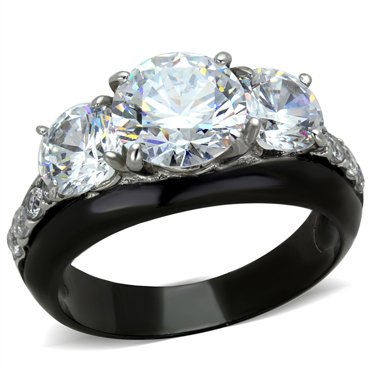 Marimor Jewelry Womens 1.65 Ct Round Cut AAA Cz Black Stainless Steel Engagement Ring Size 5-10