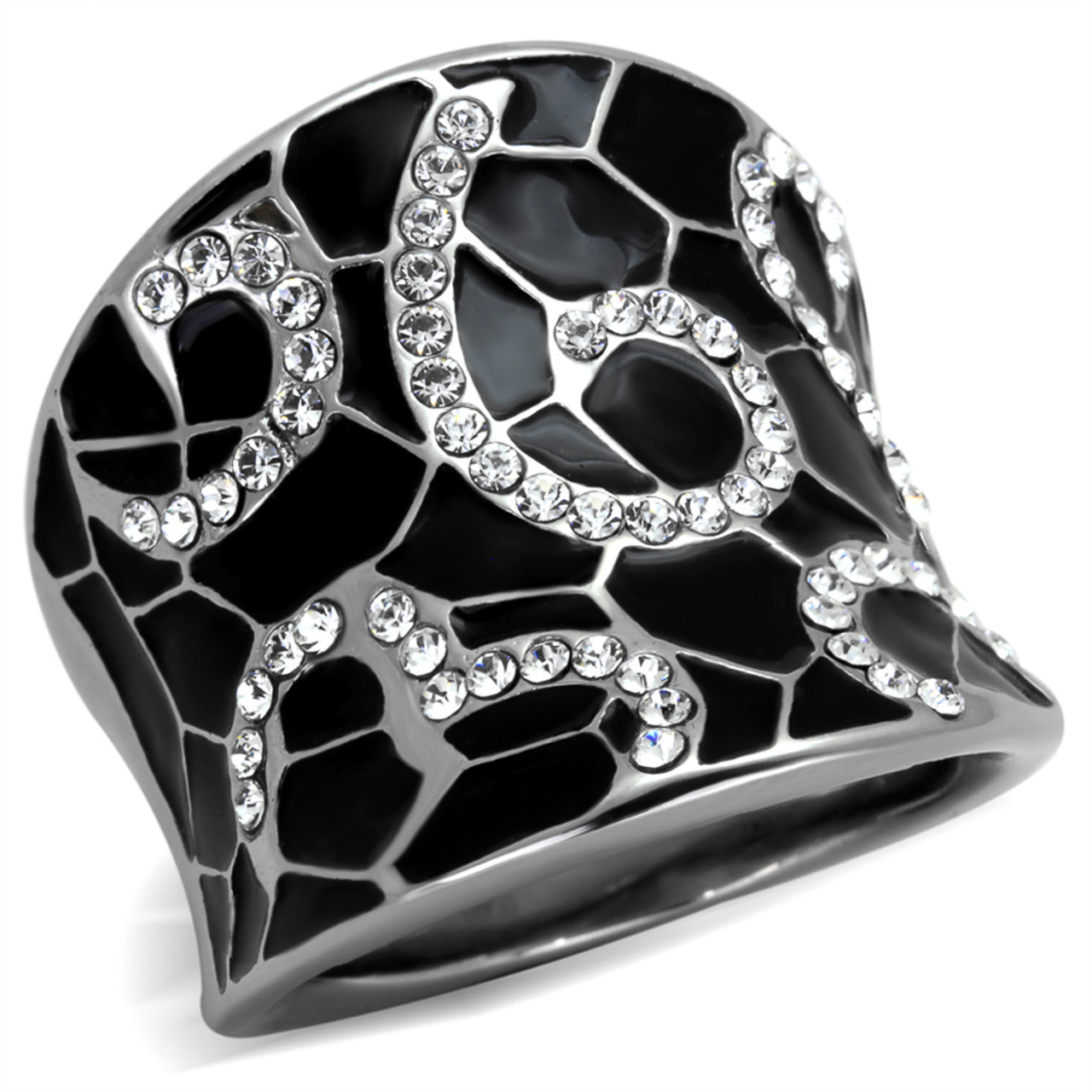 MJS Women/'s Black Stainless Steel Black Crystal Band Fashion Ring Size 5-10