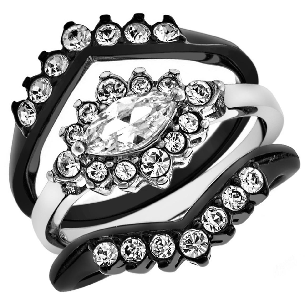 1.9 Ct Princess Cut AAA CZ Black Stainless Steel Wedding Ring Band Set Women/'s