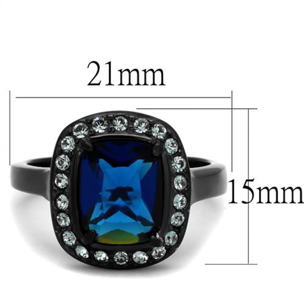 Women/'s Halo Blue Montana Sapphire /& CZ Stainless Steel Engagement Ring Sz 5-10