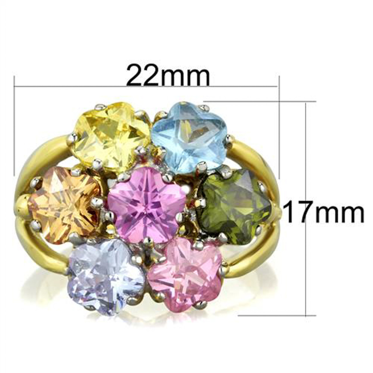 Multi-Color Crystal Gold IP Stainless Steel Cocktail Flower Ring Women/'s Sz 5-10