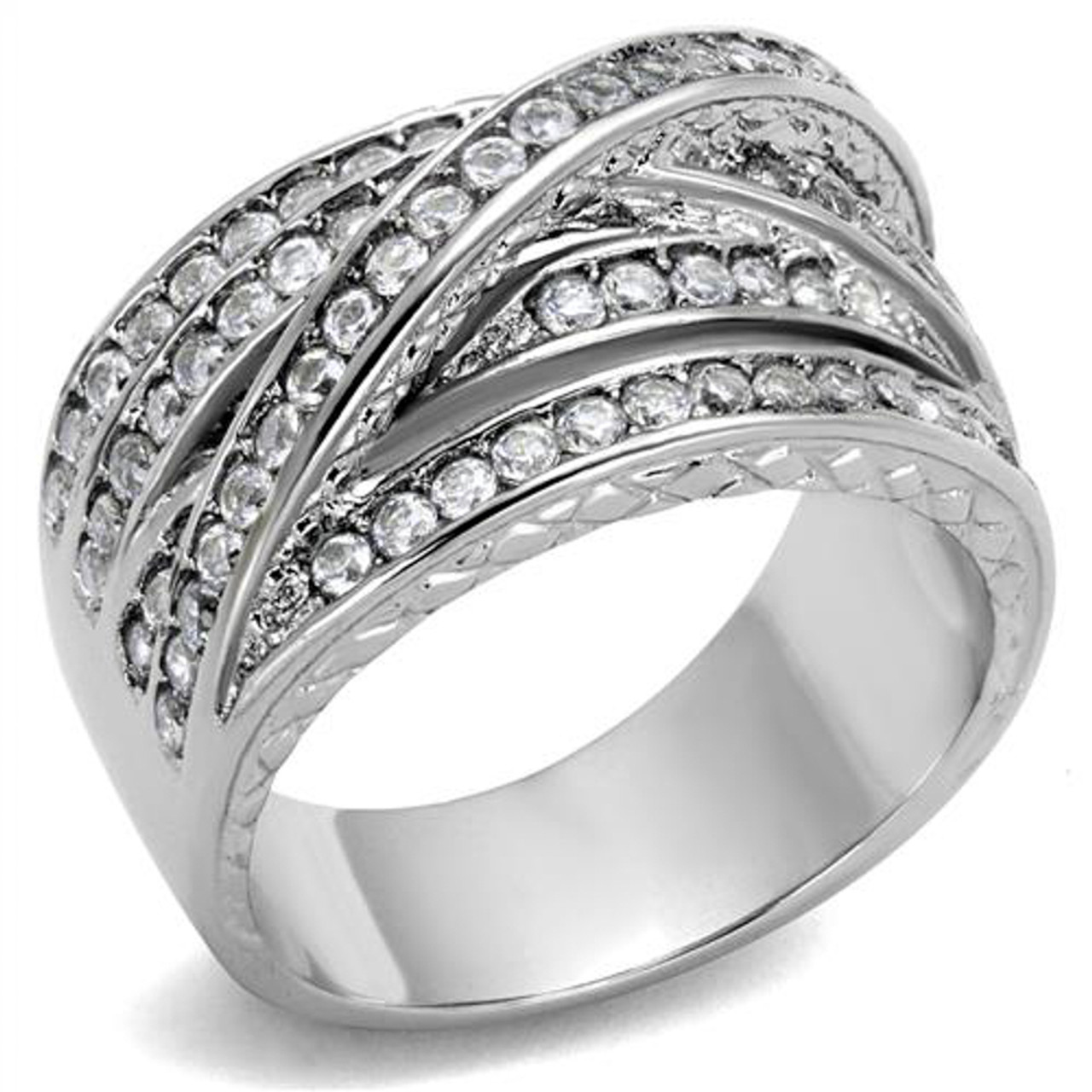 WOMEN/'S ROUND CUT AAA CZ STAINLESS STEEL ANNIVERSARY FASHION RING BAND SIZE 5-10