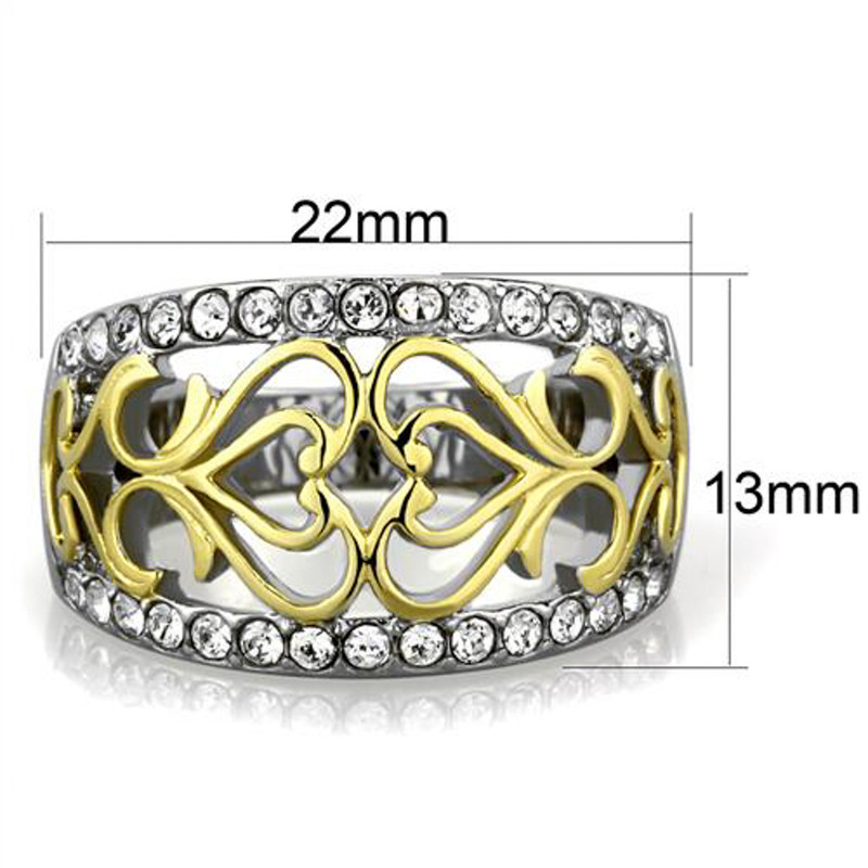 ARTK1792 Womens Two Toned 14k Gold Plated Stainless Steel Celtic Crystal Anniversary Ring