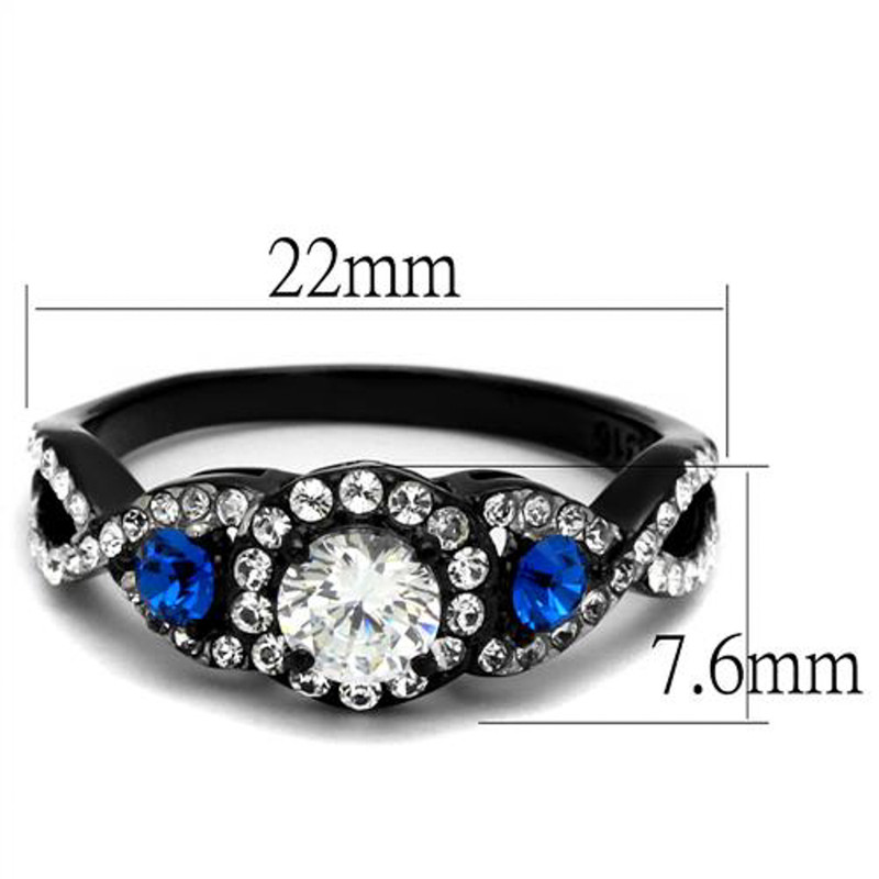ARTK2286 Stainless Steel 1.26 Ct Clear & Blue Cz Halo Black Engagement Ring Women's 5-10