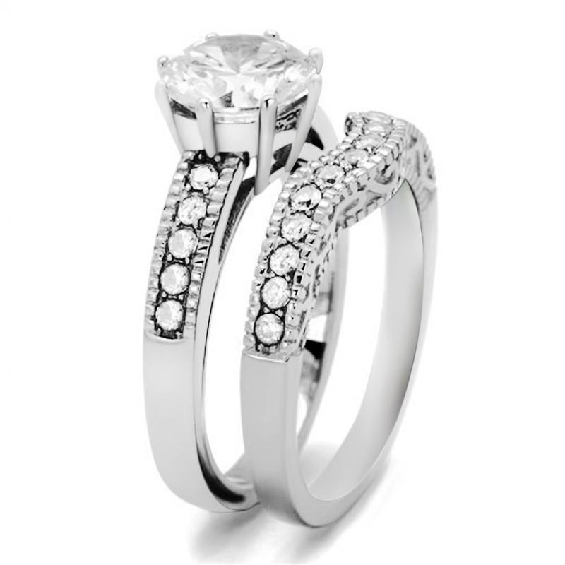 ARTK1W007 Stainless Steel 2.29 Ct Round Cut Cz Vintage Wedding Ring Set Women's Size 5-10